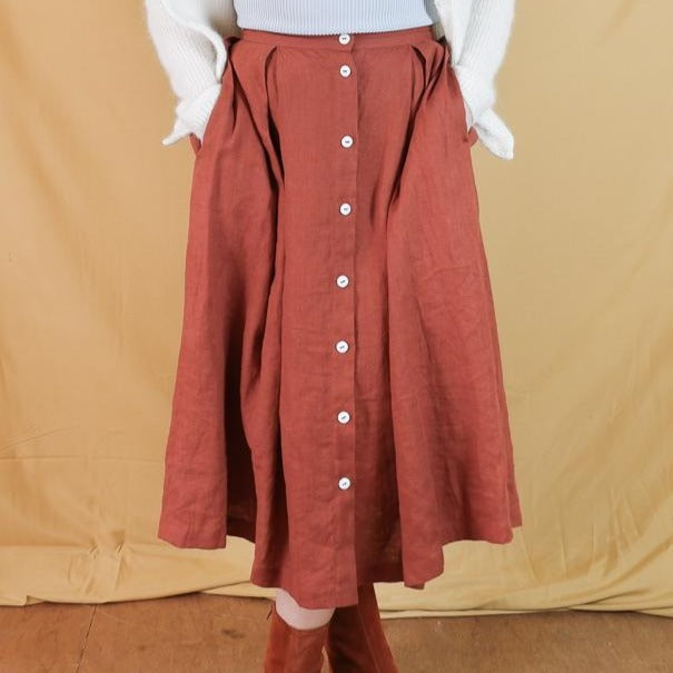 OFFON - Rust Brown Button-Up Midi Skirt