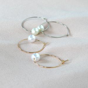 Hunter & Hare Thin Hoops with Pearls Earrings