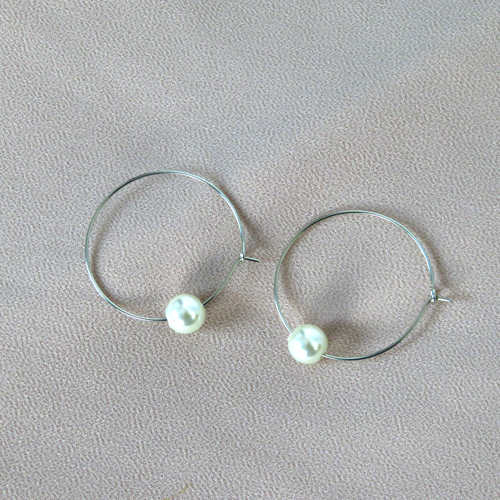 Hunter & Hare Thin Hoops with Pearls Silver Earrings