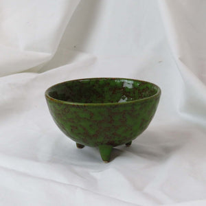 Design Home Textured Green & Brown Reactive Glazed Stoneware Footed Bowl