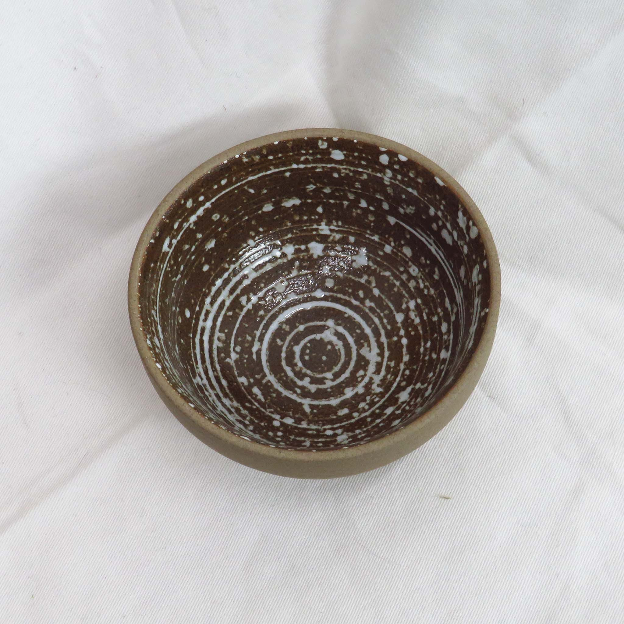 Creative Co-Op Small Footed Stoneware Bowl with Spiral Speckled White Glaze
