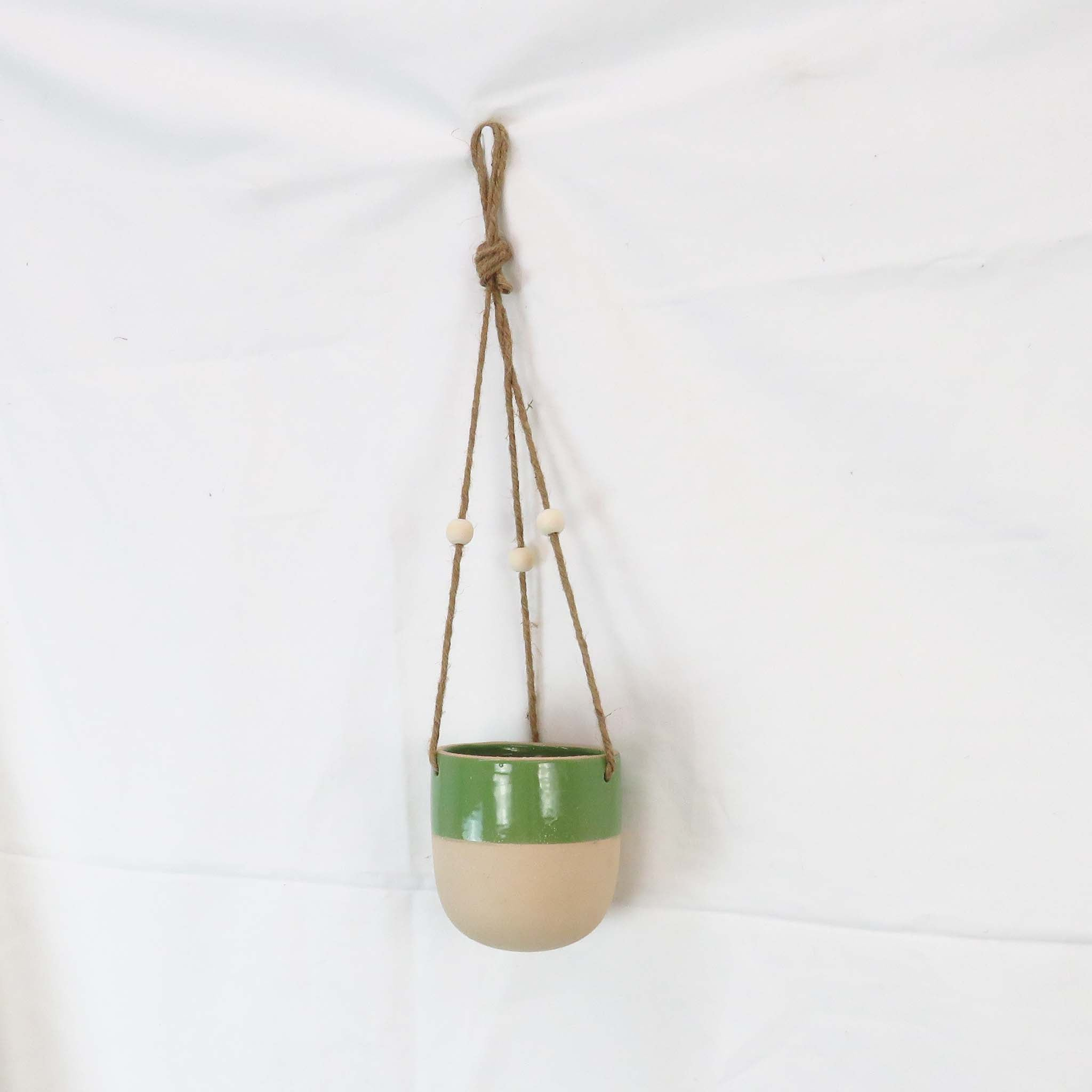 Creative Co-Op Glossy Green Painted Matte Stoneware Hanging Planter