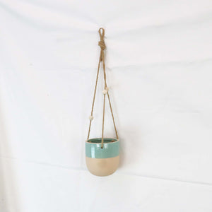 Creative Co-Op Glossy Turquoise Painted Matte Stoneware Hanging Planter