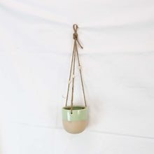 Creative Co-Op Glossy Mint Painted Matte Stoneware Hanging Planter