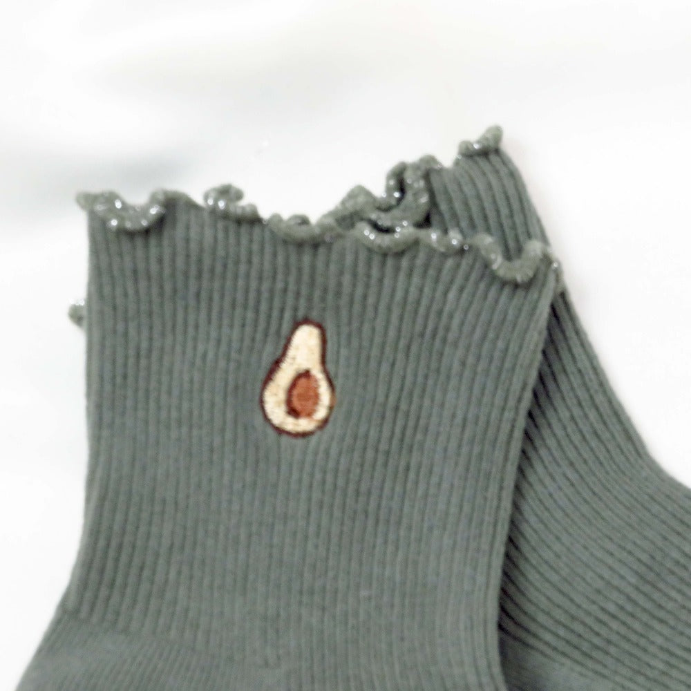 Hunter & Hare Ribbed Avocado Socks Embroidered Detal