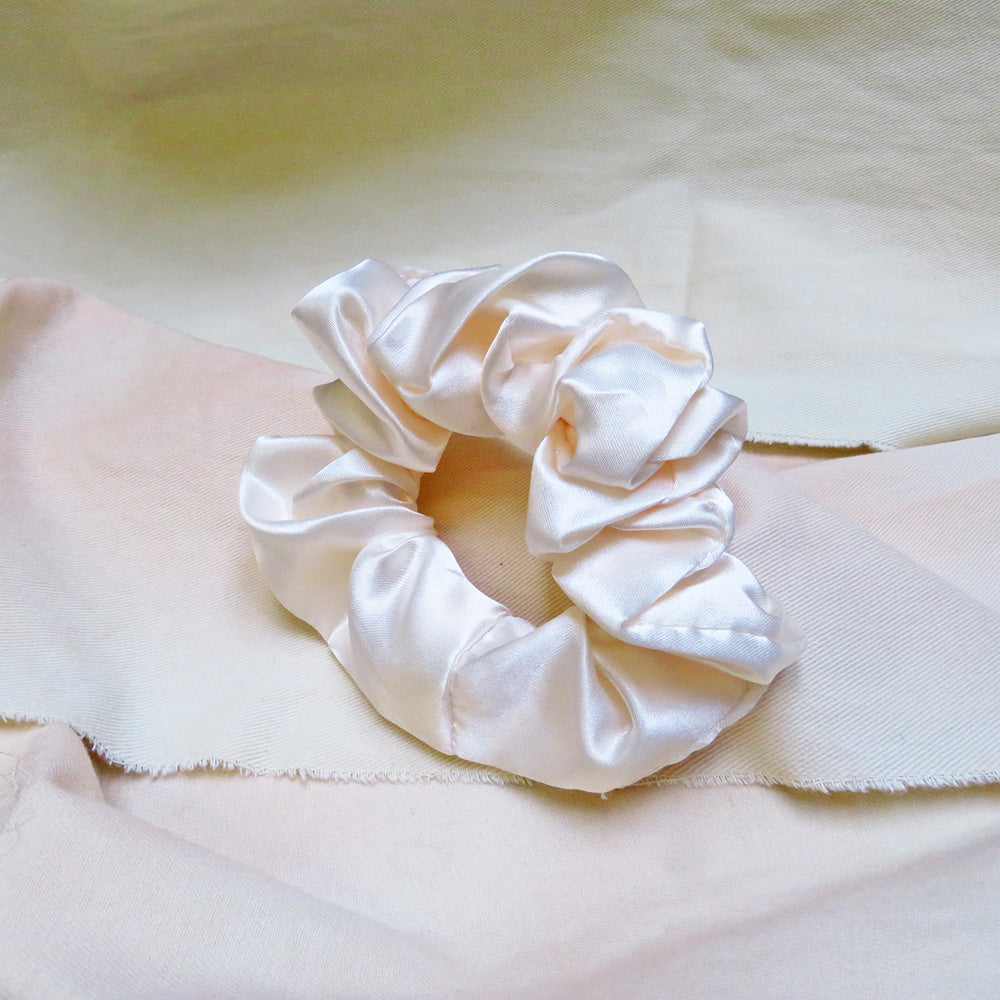 Hunter & Hare Silk Satin Scrunchie Cream