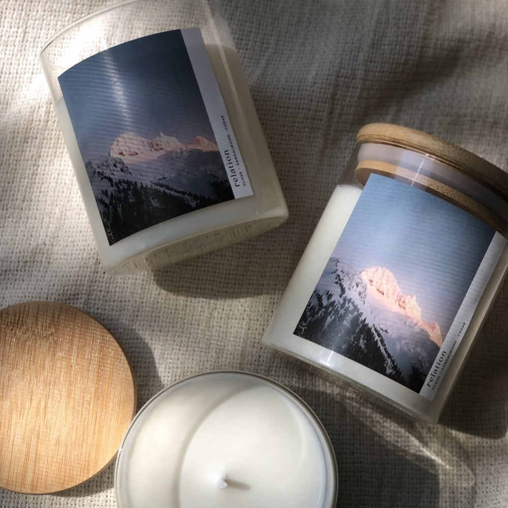 Relation Candles:  08:Mountain - Sandalwood, Clove, Cedar