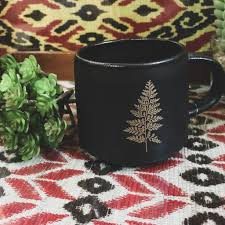 Indaba Trading Co. Glided Black Leaf Mug