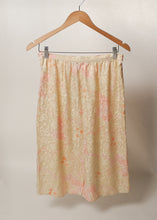 Argenti - Ivory & Peach Rose Print Silk Slip Skirt