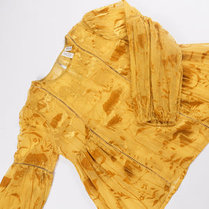 Meadow Rue - Sheer Yellow Velvet Brocade Babydoll Blouse