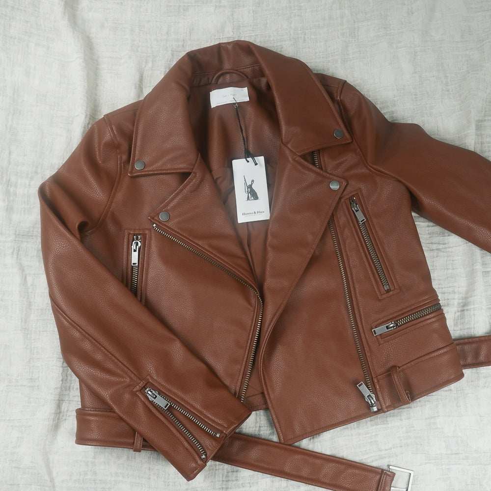 Oak + Fort - Brown Vegan Leather Moto Jacket