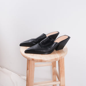 Zara - Black Angular Pointed Toe Mules