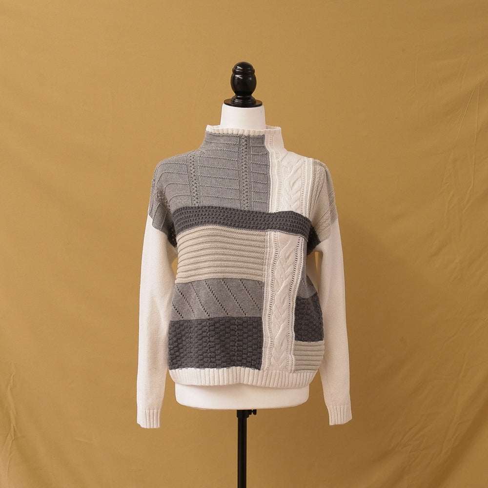 Chaps - Patchwork Grey & Cream Knit Mockneck Sweater