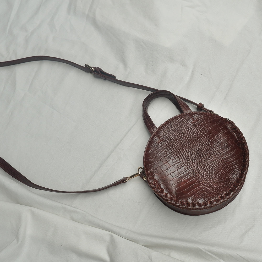 Street Level - Brown Croc Embossed Circle Bag