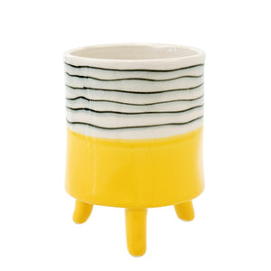 Indaba Trading Co. Yellow Painterly Footed Planter