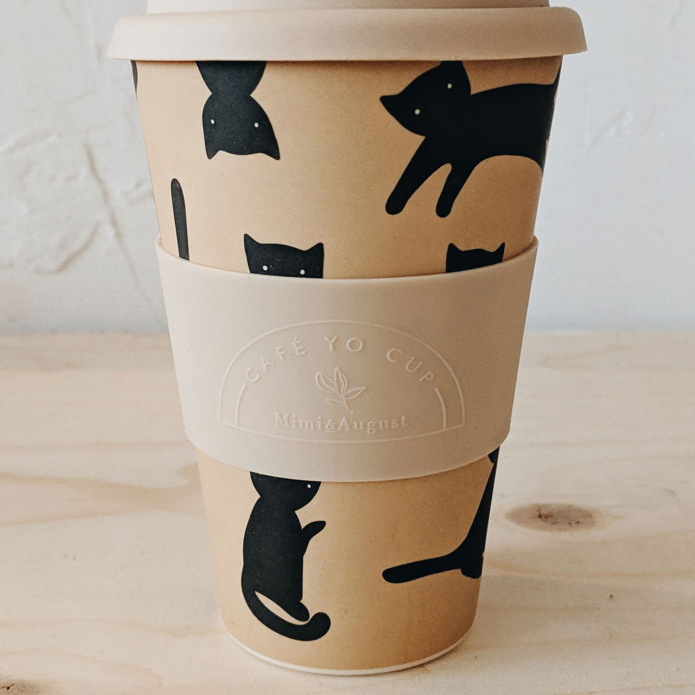 Mimi & August Black Kitty Pattern Reusable Cup with Sleeve