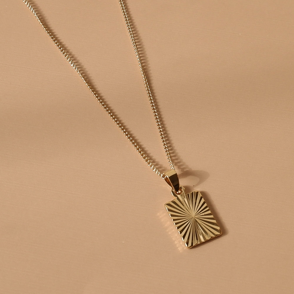Hunter & Hare Rectangle Sunburst Pendant Necklace