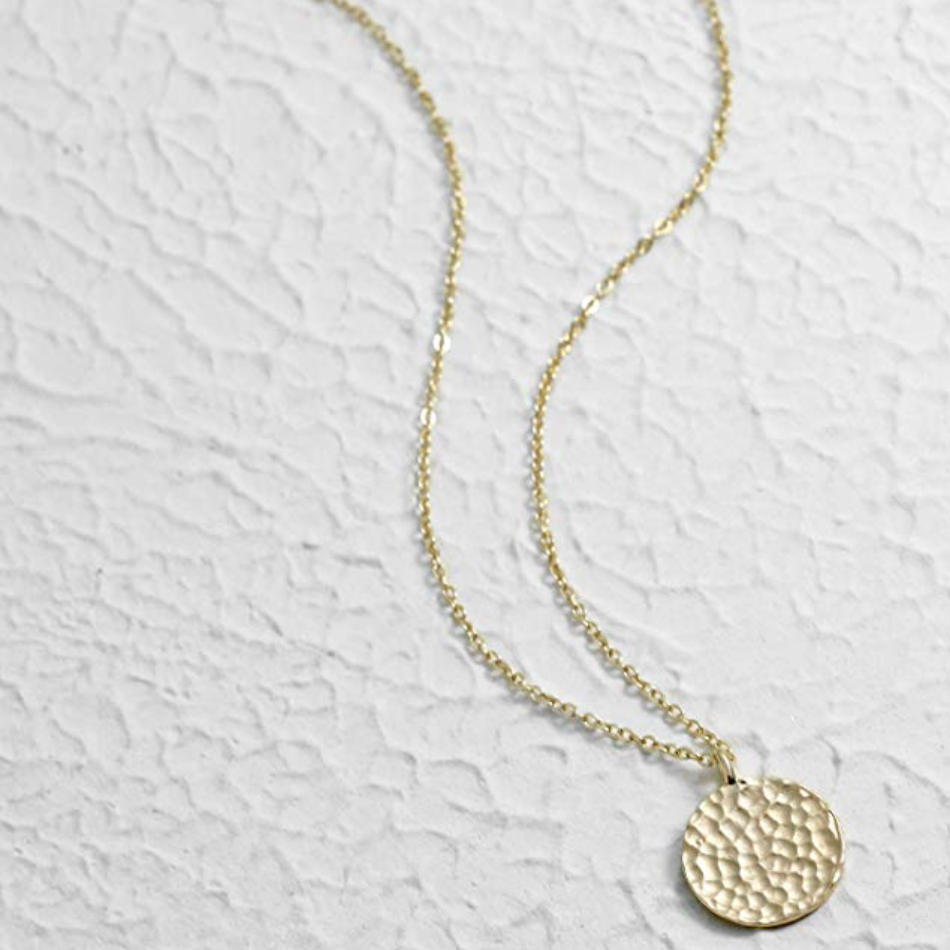 Textured Coin Pendant Necklace