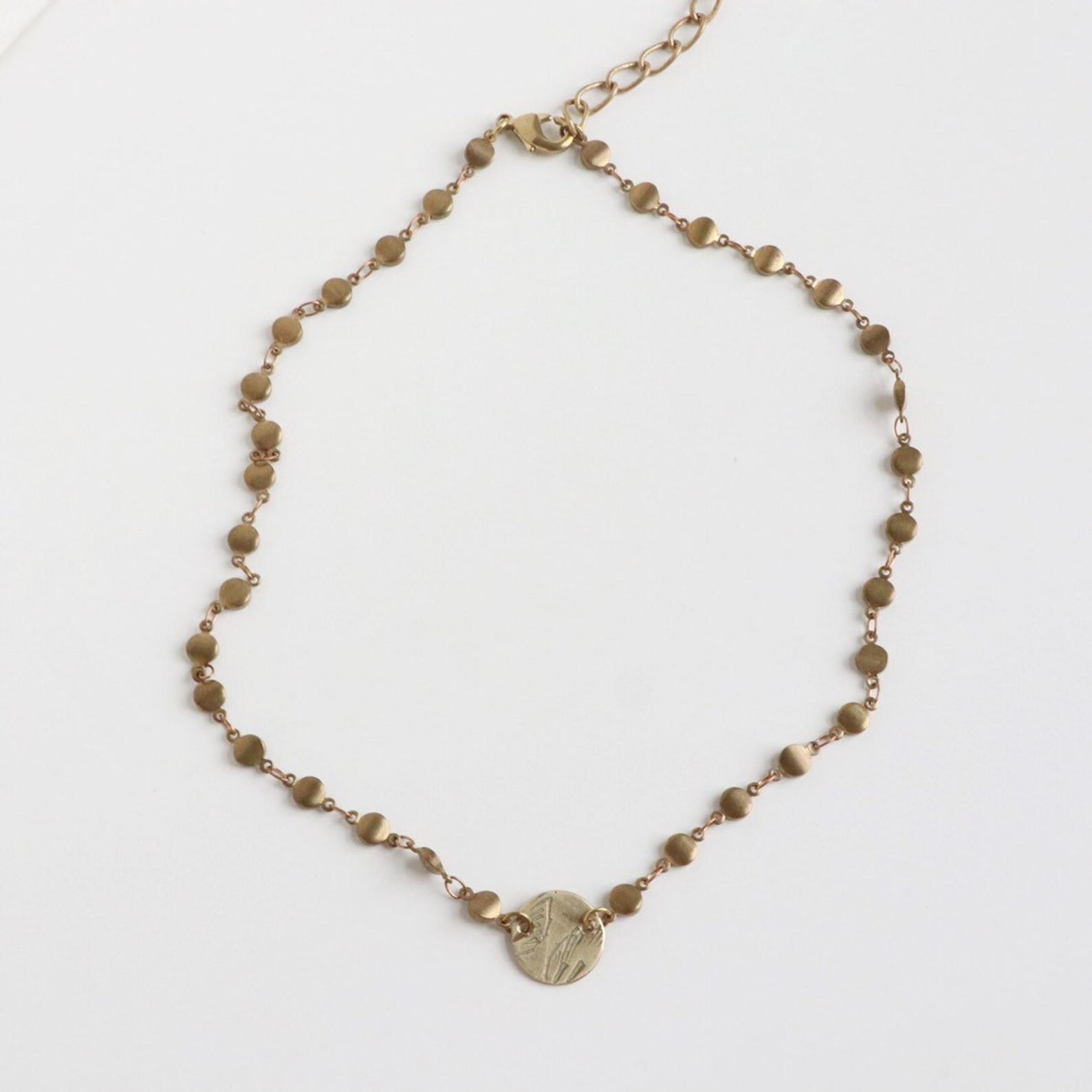 Souvenir Handmade Vintage Brass Coin Choker Unique Coin Design