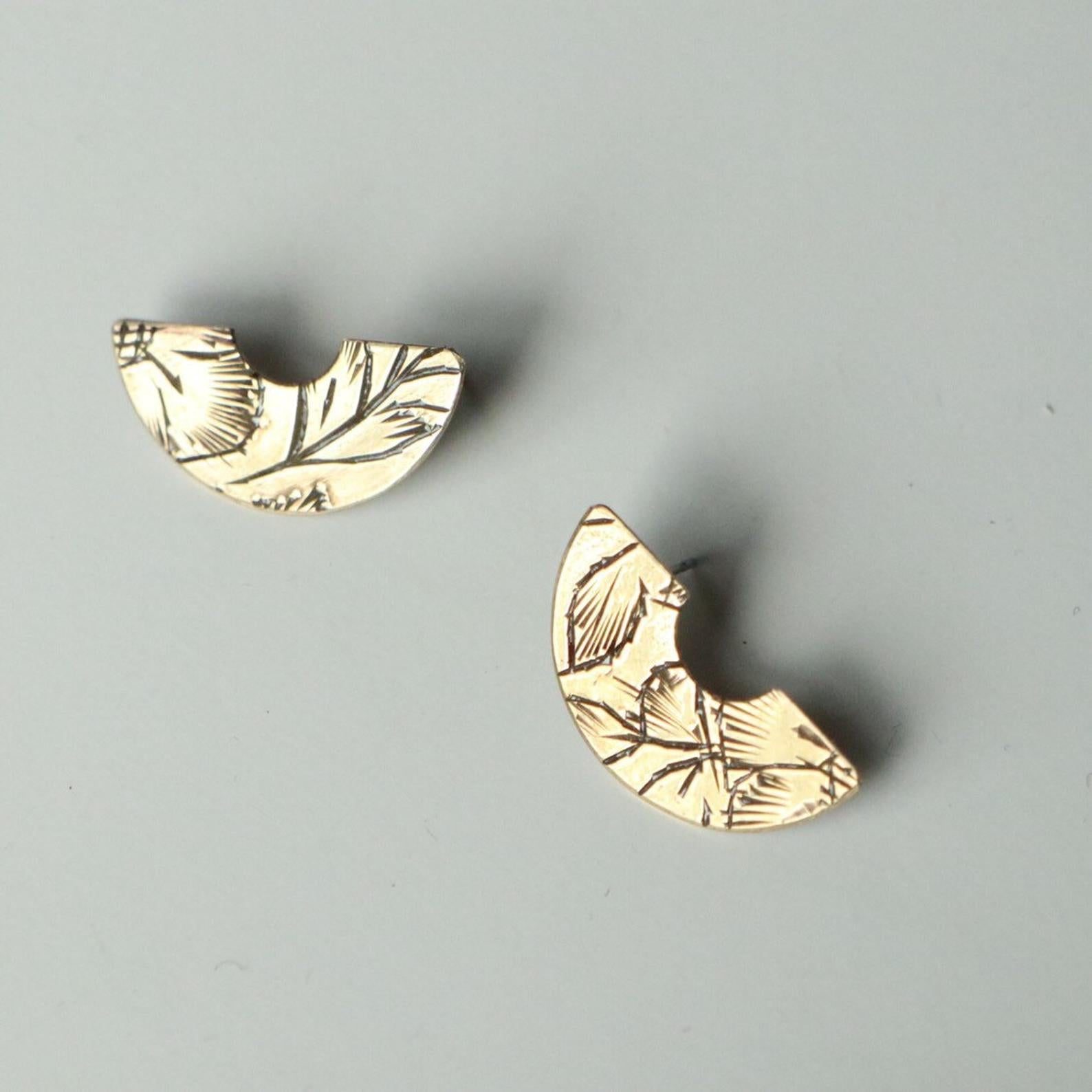 Souvenir Handmade Vintage Brass Arch Studs No Two Alike Unique