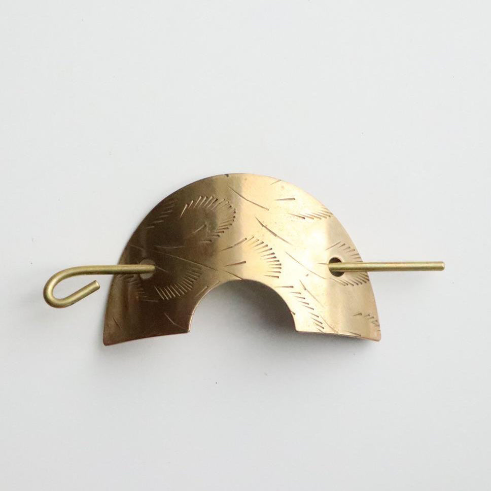 Souvenir Handmade Vintage Brass Arch Hair Pin Leaf Etchings