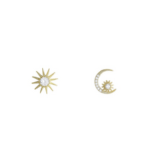 Hunter & Hare My Sun + Moon Crystal Studded Earrings Sterling Silver Gold Plated