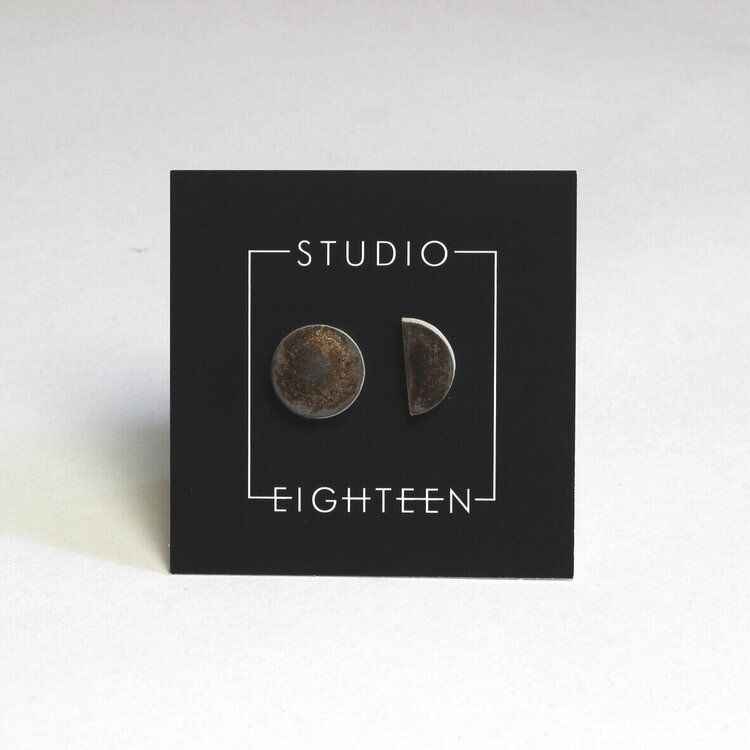 Studio Eighteen Bronzed Ceramic Circle Stud Earrings