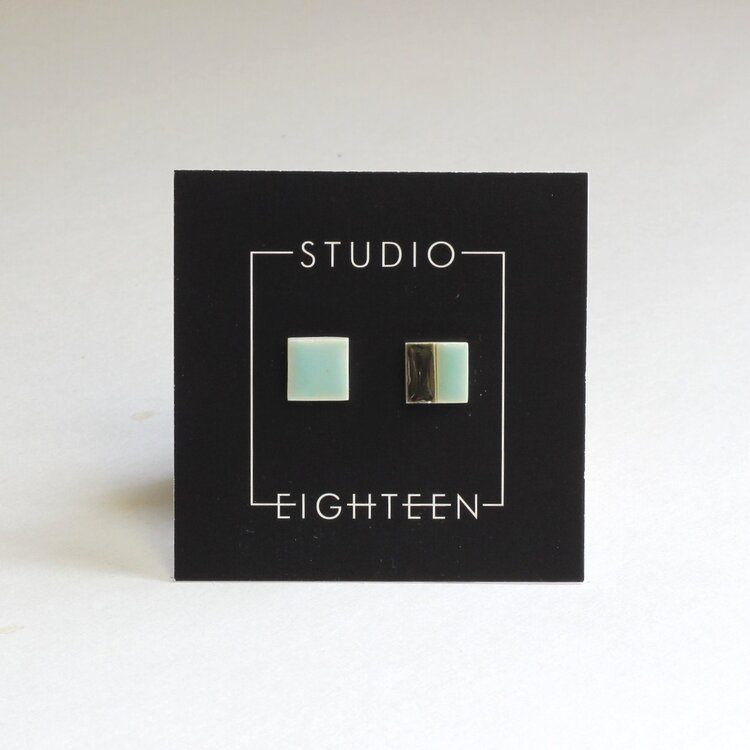 Studio Eighteen 50/50 Ceramic Square Stud Earrings
