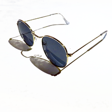 Hunter & Hare Thin Wire Frame Sunglases Black on Gold