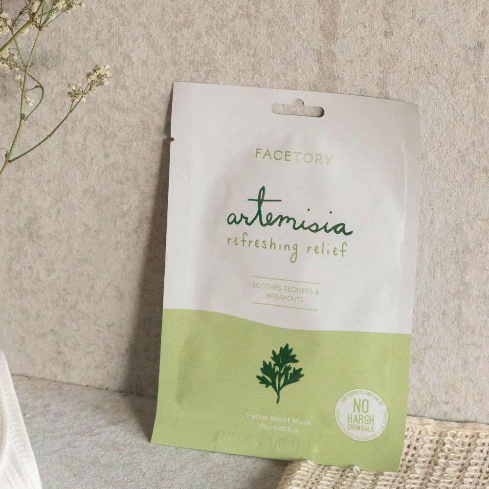 Facetory Artemisia Refreshing Relief Sheet Mask Lifestyle