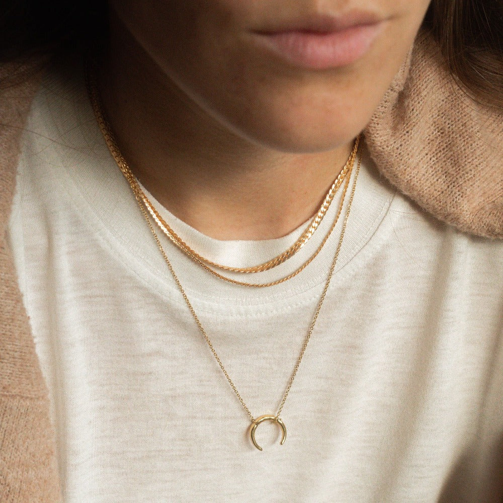 Hunter & Hare Crescent Horn Necklace Model