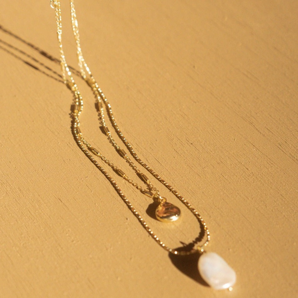 Hunter & Hare Layered Droplet + Pearl Necklace Close Up
