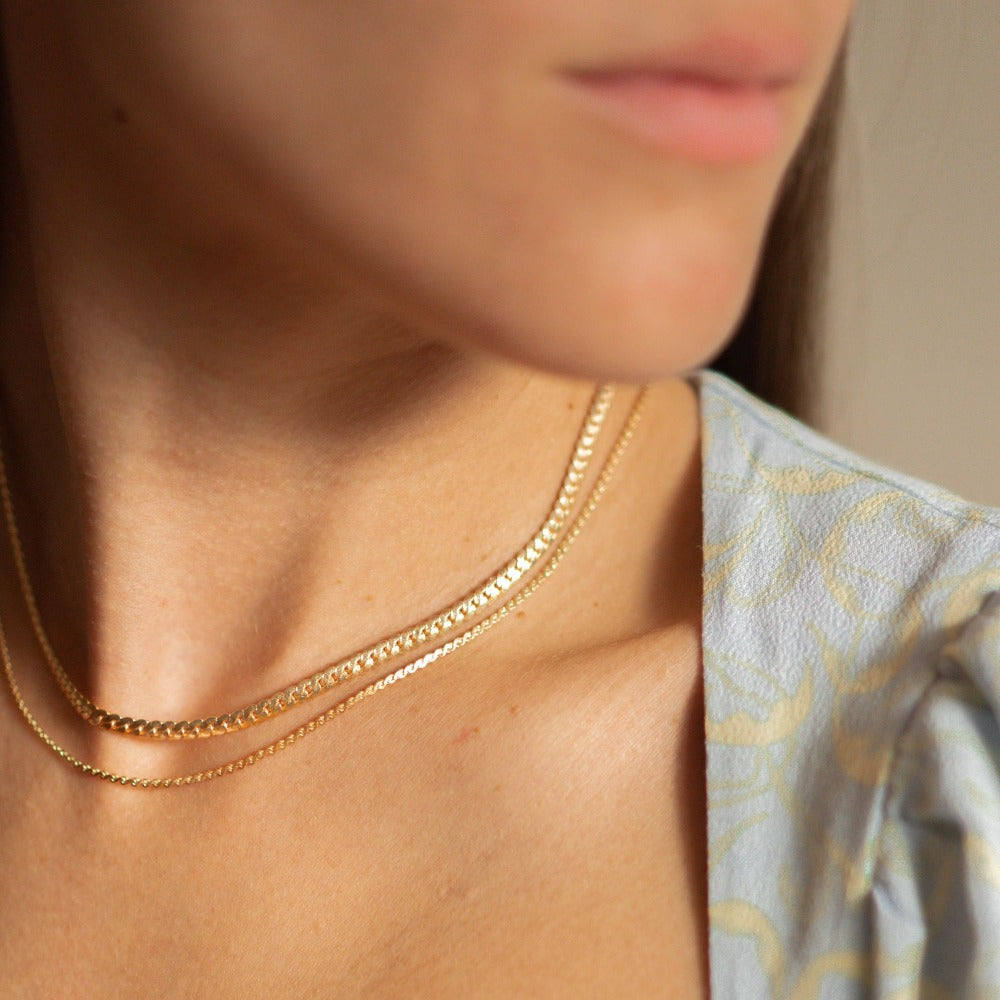 Hunter & Hare Layered Gold Choker Necklace Model