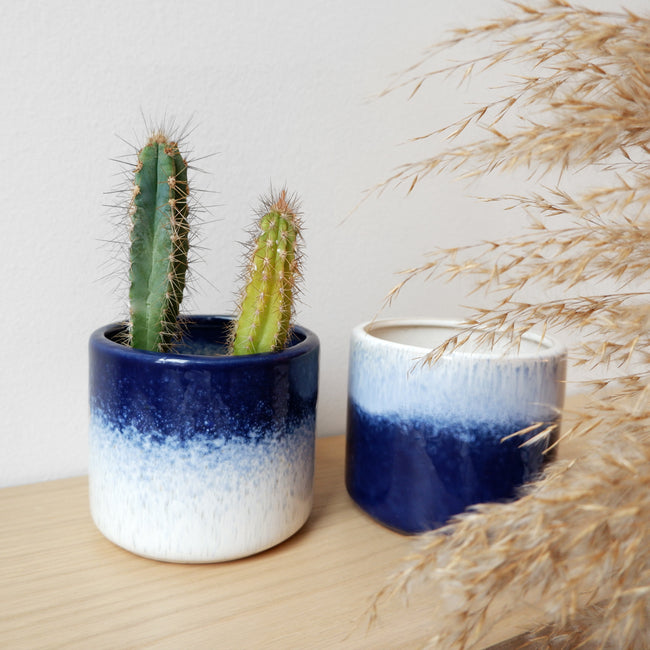 Indigo Glazed Planter