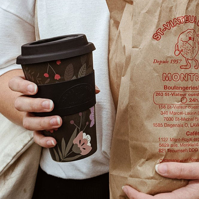Mimi & August Black Floral Cafe Yo Bamboo Fiber Travel Cup