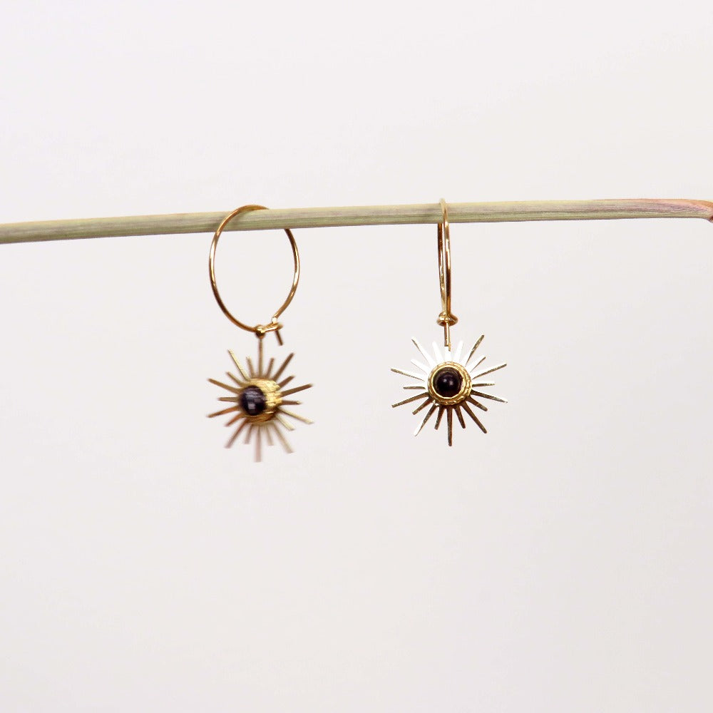 Hunter & Hare Radiant Black Sun Dangle Earrings
