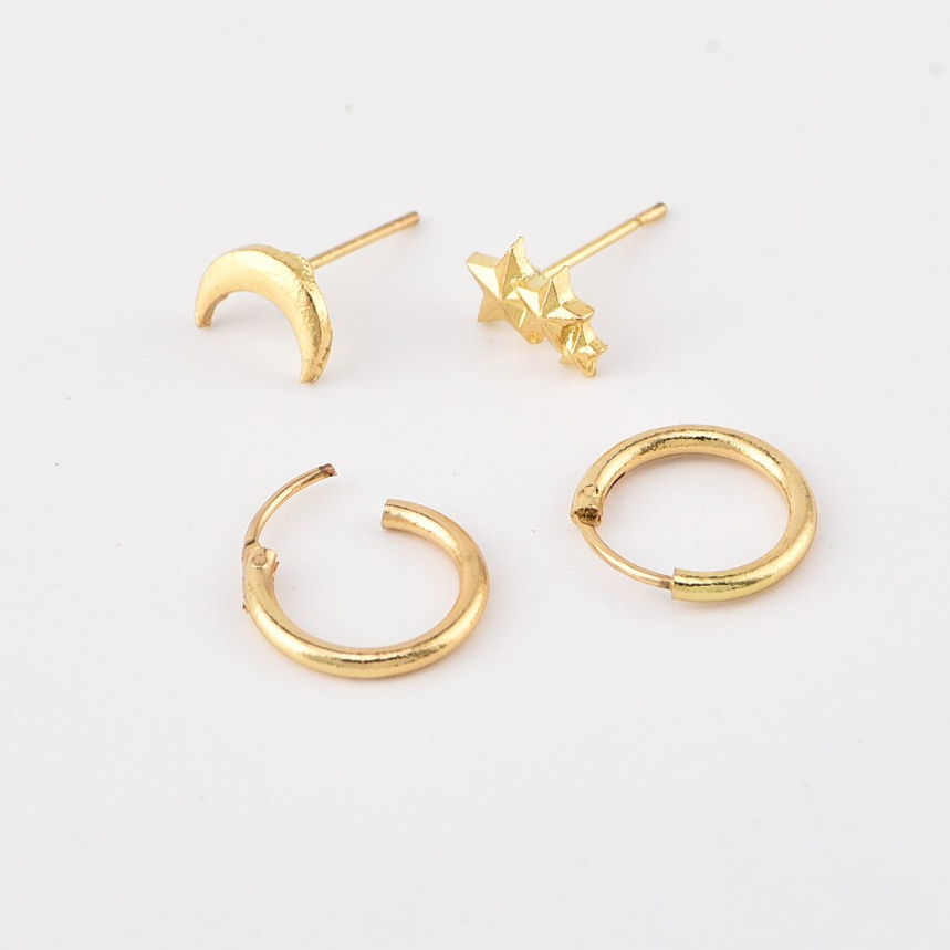 Hunter & Hare Star + Moon 4-Piece Earrings Set