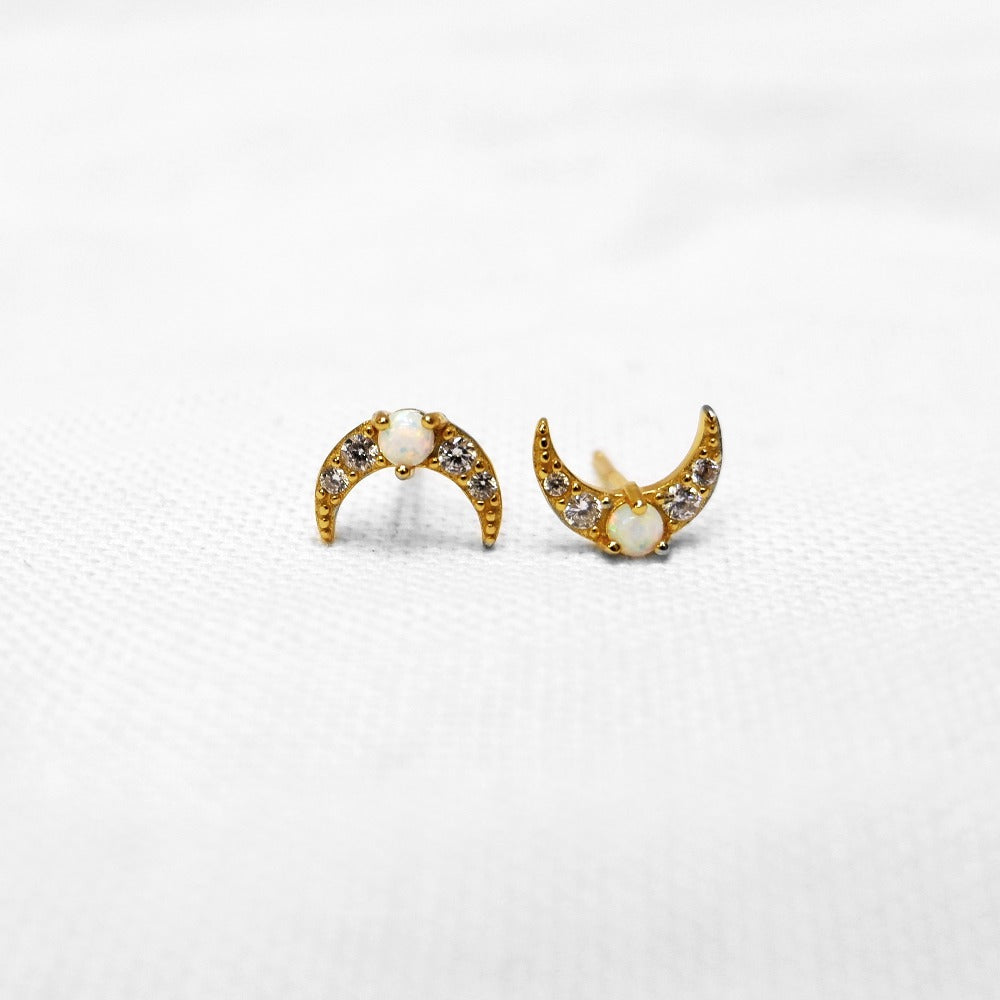 Opal Pavé Crescent Moon Stud Earrings