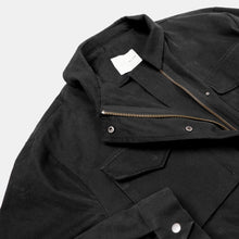 Oak + Fort Black Utility Coat Close Up