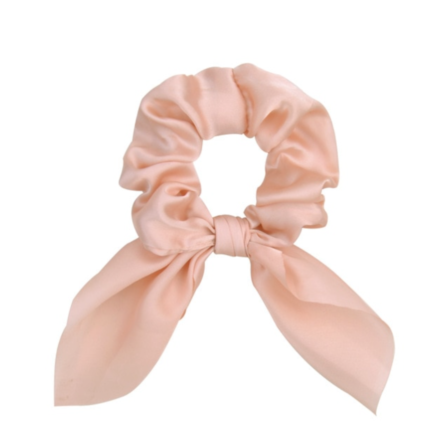 Hunter & Hare Satin Bow Scrunchie Pink