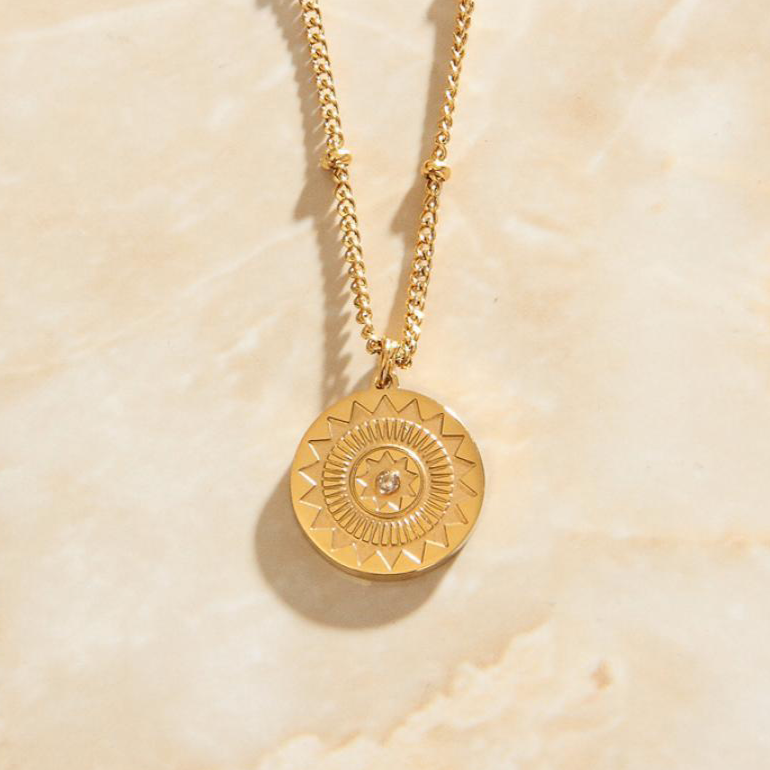 Sun Dial PEndant Necklace Close Up