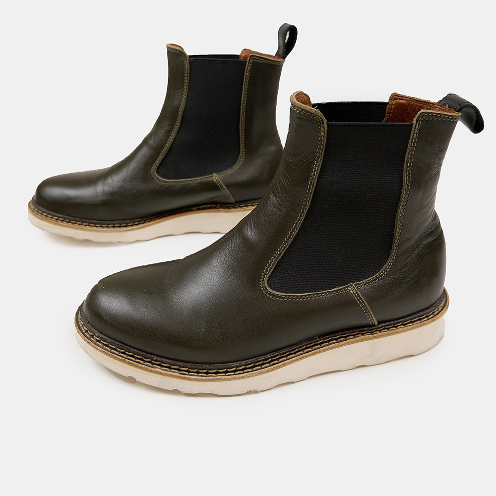Diemme - Dark Olive Leather Chelsea Boots