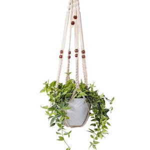 Cream Macramé Beaded Plant Hanger