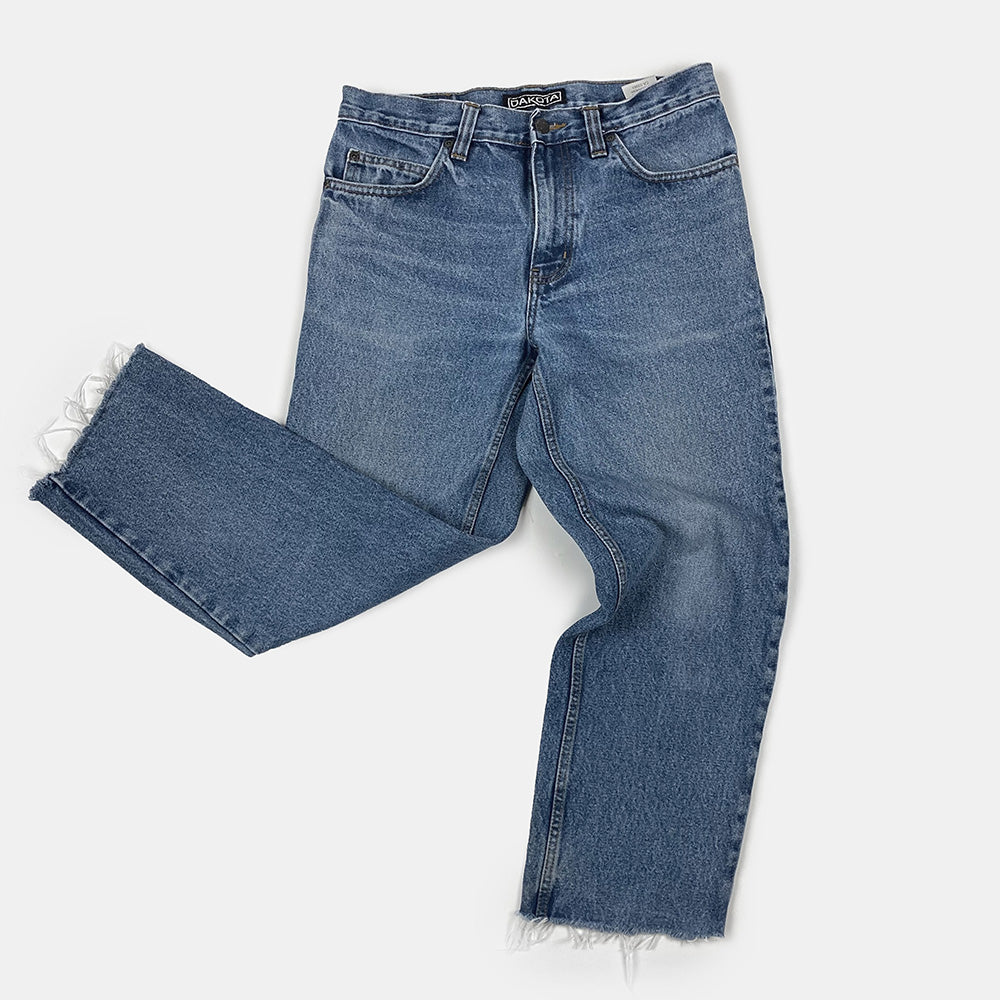 Dakota - Blue Straight Leg Cut Off Jeans