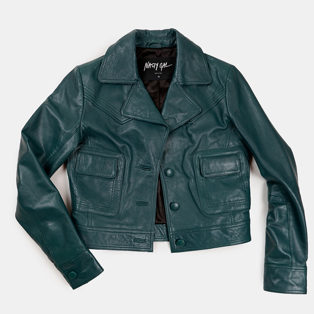 Nasty Gal - Emerald Green Leather Cropped Jacket