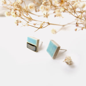 Studio Eighteen - 50/50 Ceramic Square Stud Earrings