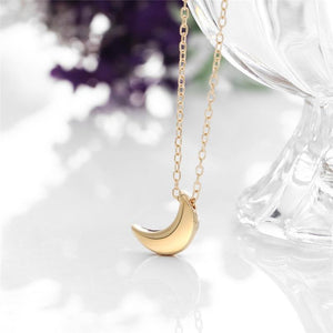 Small Gold Moon Necklace