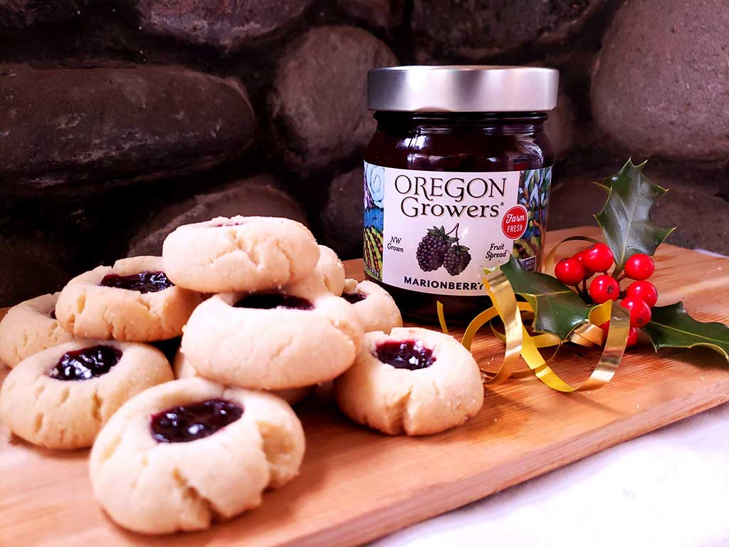 Platter of thumbprint cookies filled with Oregon Growers Marionberry Fruit Spread