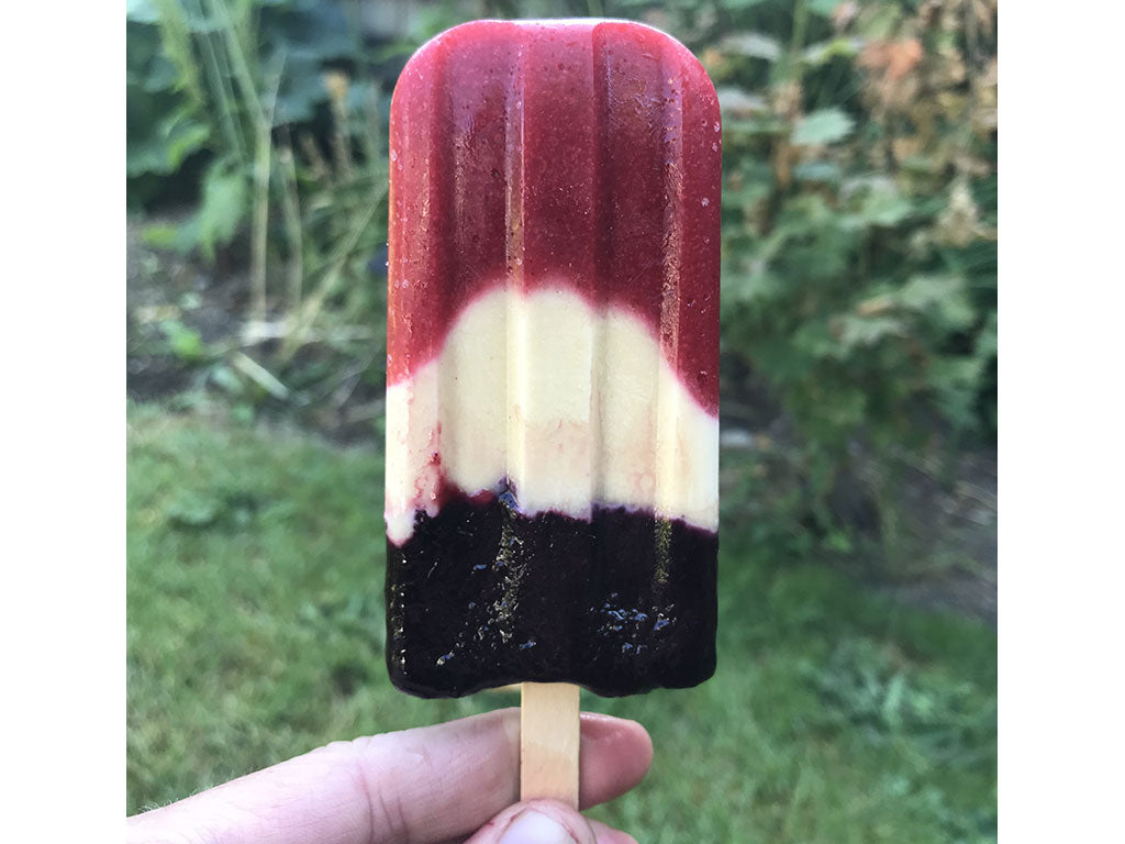Red, white and blue popsicle made with Oregon Growers Huckleberry Jam