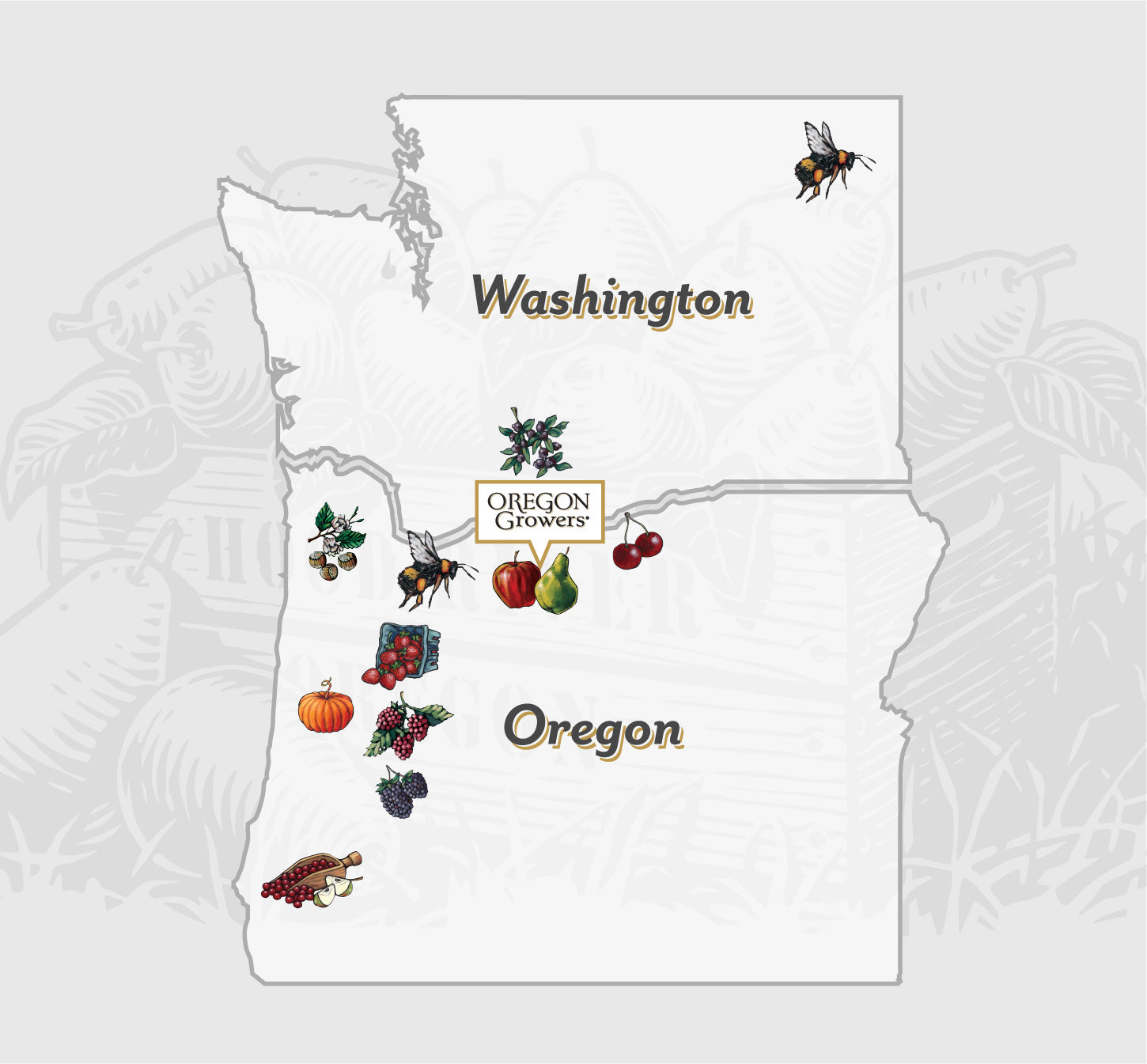 Map of Washington and Oregon showing location of Oregon Growers farming partners and products